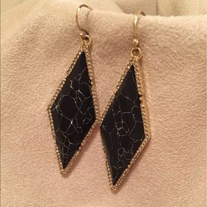 Bauble Bar Jewelry - Bauble Bar Black Marbled Stone-Gold Earrings