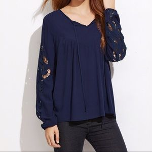 ✨Navy Embroidered Hollow Out Sleeve Blouse✨