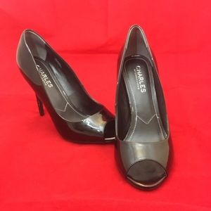 NWOT Shiny Black Open Toed Heels