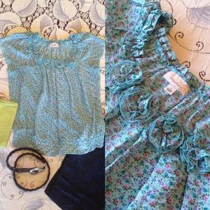 Dress Barn Calico Fresh Blue Top