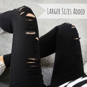 Super Stretch Black Distressed Leggings
