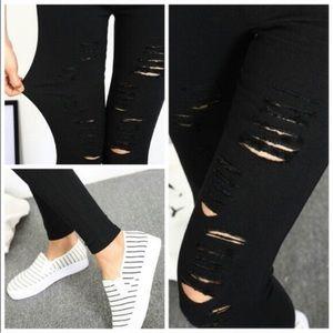Karis' Kloset Pants - Super Stretch Black Distressed Leggings