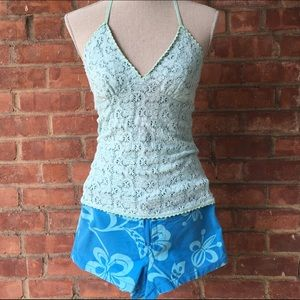 Tops - Sexy and Girly Halter Top in Light Blue - Size S/M