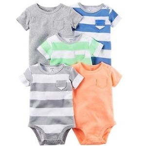Carter's Other - Baby Boy Carter's 5PK Striped &a Solid Bodysuits