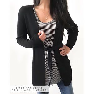 Bloomingdale's Sweaters - Black Long Belted Stretchy Cardigan