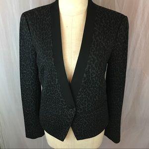 LOFT gray Leopard  Print Cotton Blazer Jacket sz 2