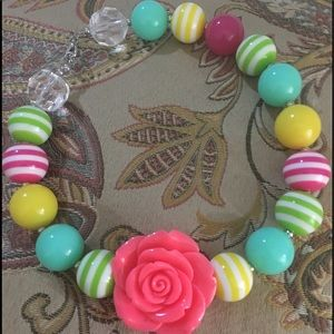 Other - Pink Flower Chunky Bead Necklace