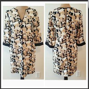 Zara Basic Tan Print Sheath Dress