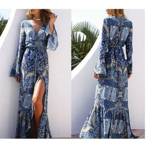 boho gypsy bell sleeve long sleeve maxi dress blue