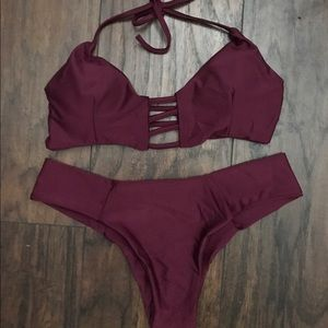 Other - STRAPPY SUMMER MAROON SEXY TWO PIECE BIKINI NWT