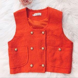 Vintage Jackets & Blazers - Vtg 90s Orange Tweed Double Breasted Vest S/M