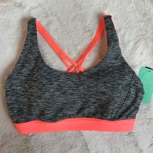 Forever 21 Tops - S MEDIUM IMPACT STRAPPY BACK SPORTS BRA NEON GREY
