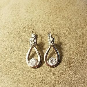 Silvertone and rhinestone earrings