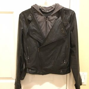 Jackets & Blazers - Black Faux Leather Biker Jacket