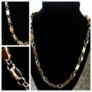 "Other - Two Tone Gold Plated Biker Necklace (24"")"