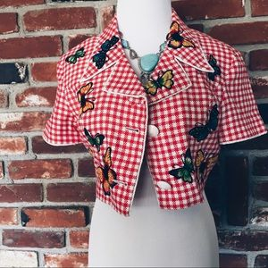 Vtg80s Cropped Button Gingham Butterfly Jacket SM