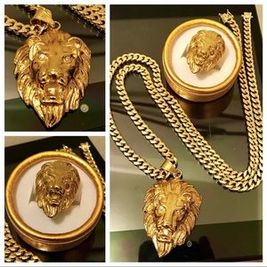 Other - 14K Gold Plated Cuban w/ Lion Pendant & Lion Ring