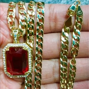 Other - 14K Gold Plated Cuban w/ Swarovski Encrusted Ruby