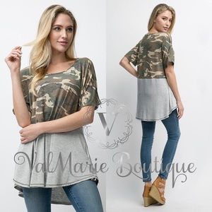 Camo panel tshirt blouse