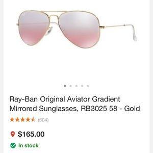 Ray-ban aviators rose gold