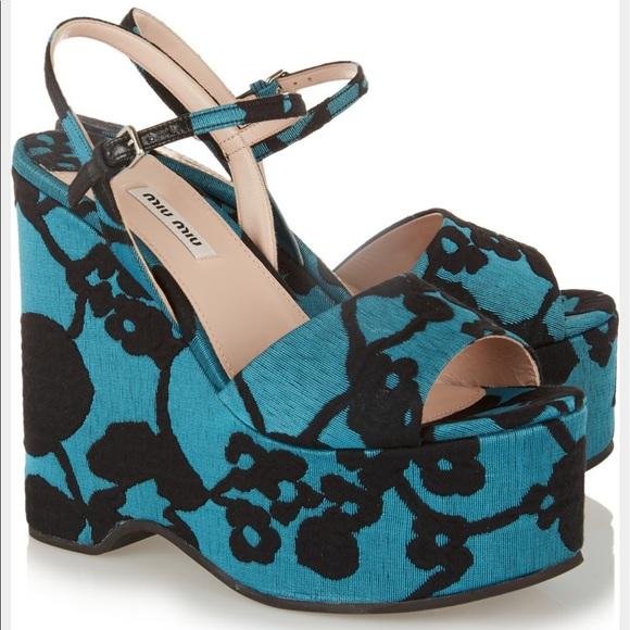 0e54fd8ed572 Miu Miu Women s Blue Floral Brocade Wedge Sandals