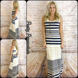 Pretty Persuasions Dresses & Skirts - NWT Navy Tan Cream Striped Maxi Dress