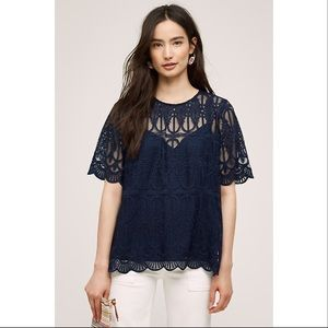 Anthropologie Tops - Anthropologie En Elle Navy Lace Top with keyhole