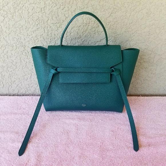 0ff5291f9e5a Celine Teal Green Drummed Calfskin Mini Belt Bag