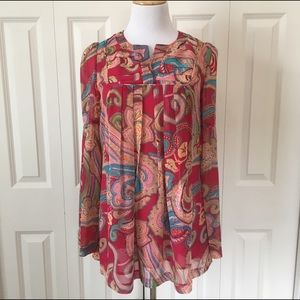 Twelve by Twelve Tops - Pink Paisley Small Trumpet Sleeve Pleated  Blouse