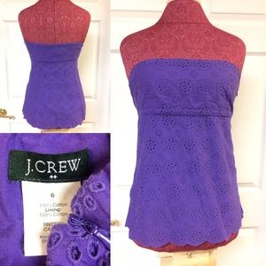 J. Crew Tops - J. Crew Purple Strapless Eyelet Floral Top Size 6