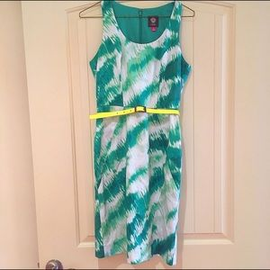 Vince Camuto Dresses & Skirts - 🎉⬇️💲 Vince Camuto Belted Lime Print Sheath Dress