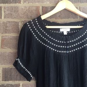 Black Embroidered Peasant Blouse