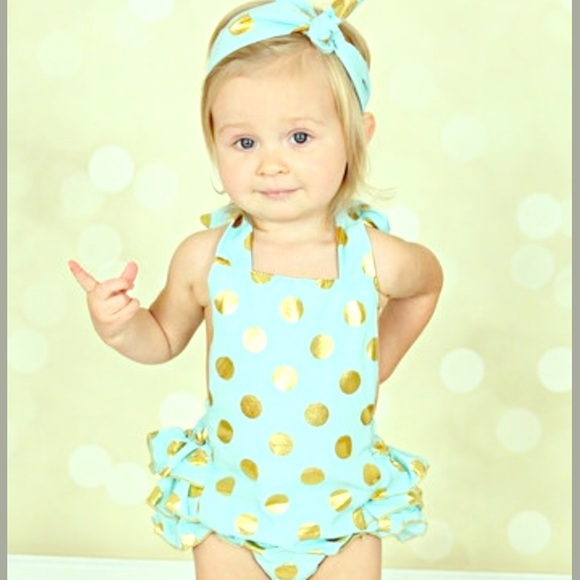 Just Couture One Pieces - NWOT Mint & Gold Romper and Headband Infant 12-18m