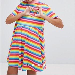 Lazy Oaf Dresses & Skirts - NWT Lazy Oaf Rainbow Striped Dress