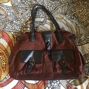 Cooperative Handbags - Urban Outfitters Maroon/Brown Tote with Pockets