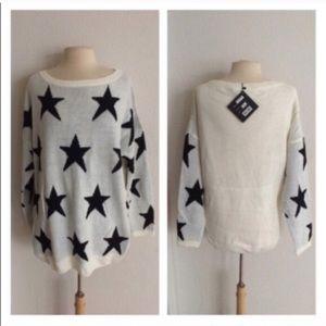 Sweaters - (Plus) White star sweater