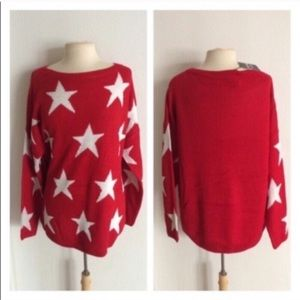 Sweaters - (Plus) Red star sweater