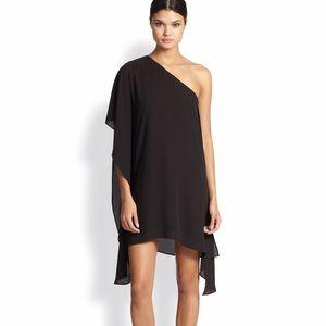BCBG Alana black draped shift dress