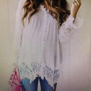 Chic wish white lace blouse tunic