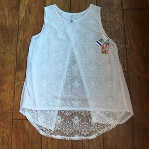 Wallflower Tops - White Lace Tank XL