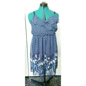 Lauren conrad Dresses & Skirts - FINAL SALE! Navy Sun dress with tulips size 12