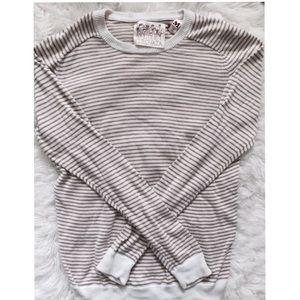 Trovata Sweaters - Trovata Tan & White Striped Sweater