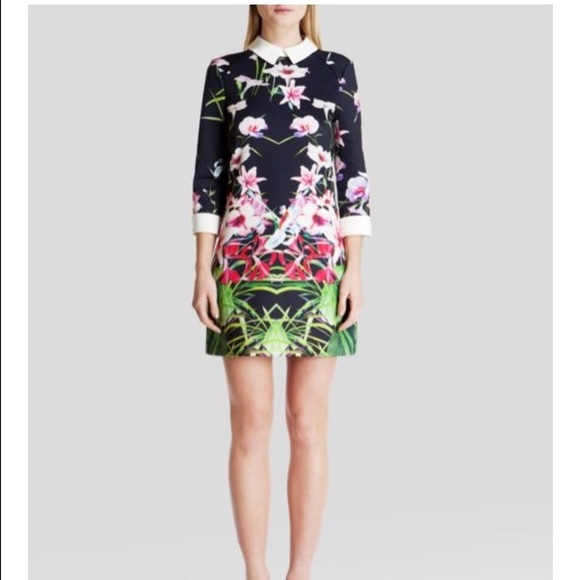 dbdf665b70b5 Ted Baker  Youma Mirrored Tropics  Dress. M 591fb725bf6df5e9a7025768