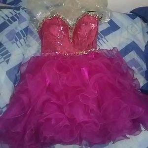 Agora Dresses & Skirts - Pink Sweetheart Neckline Tube Ruffled Dress