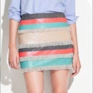 Zara sequin Fringe striped mini skirt sz L coral