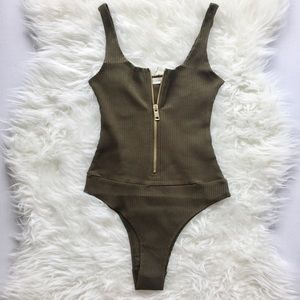 Nasty Gal Tops - EROS Gold Zipper Olive Bodysuit