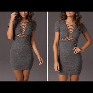 Gray Knited Lace Up Dress
