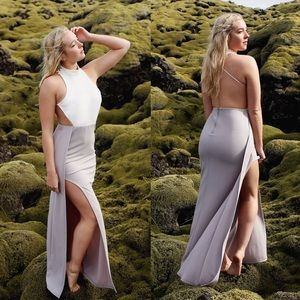 White Grey Backless Maxi Dress