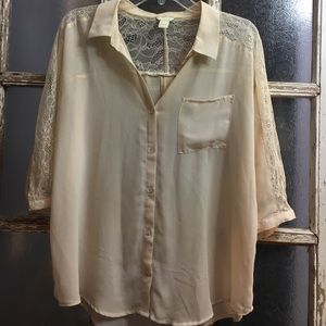 Cream lace trimmed top