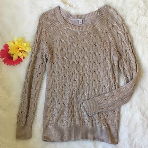 Halogen Sweaters - Halogen Chunky Cable Knit Crew Necklace Sweater